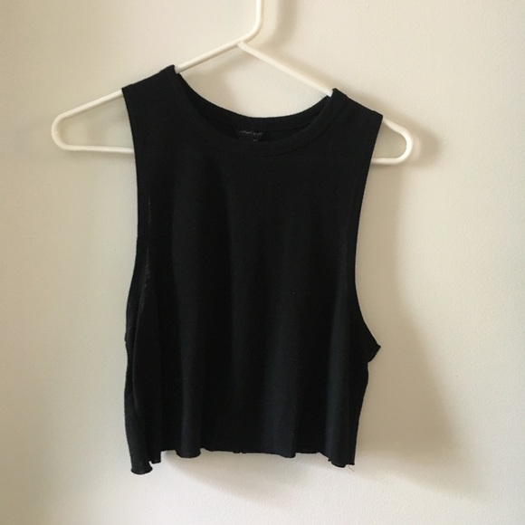 Topshop Tops - TopShop Crop Black Muscle Tank